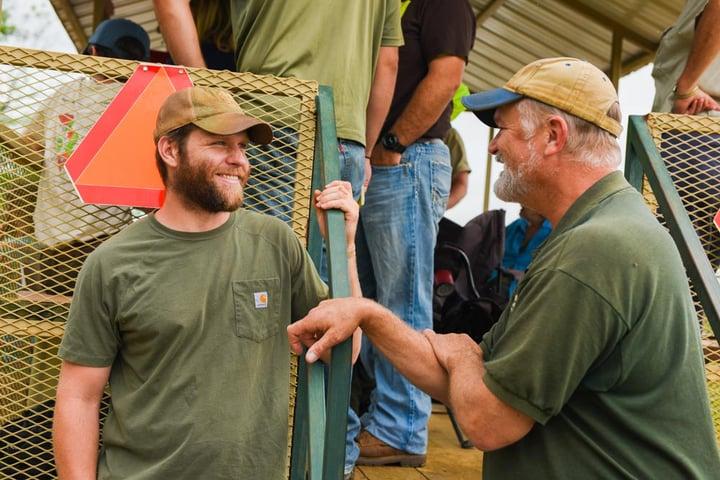 Aaron talking with Mark Sheppard