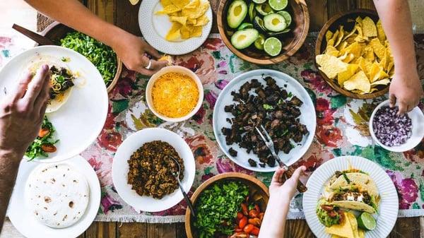 Cinco de Mayo party table pasture raised taco bar
