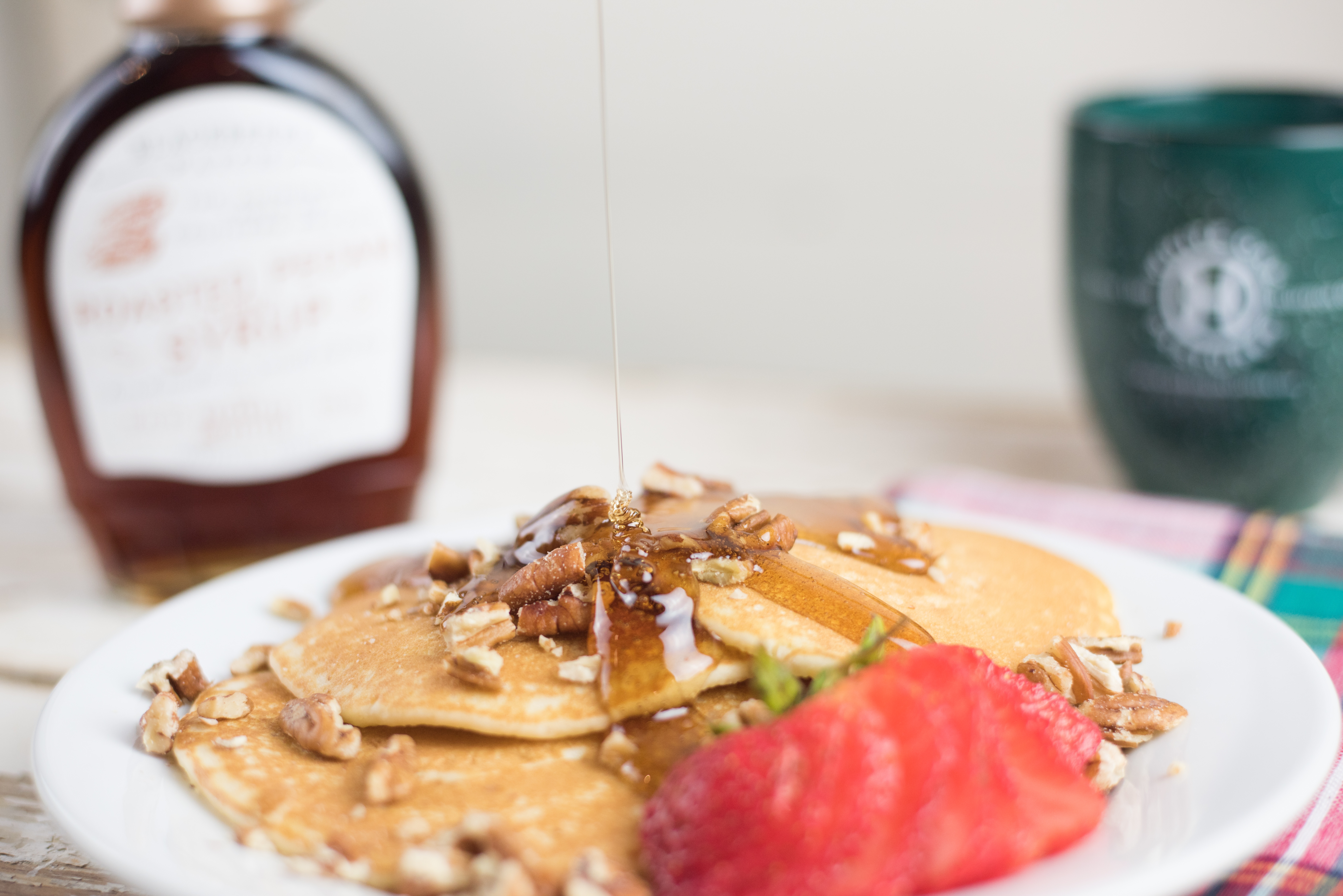 Blackberry patch pecan syrup on pancakes