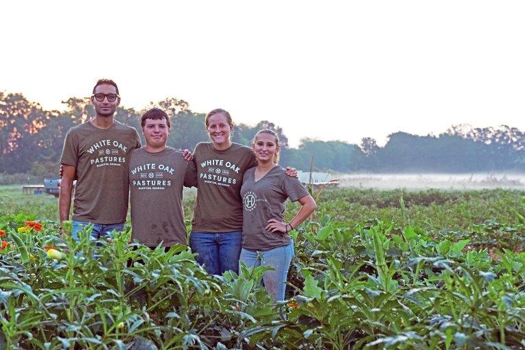 Organic Garden Manager Bilal Sarwari and the gardening team at White Oak Pastures
