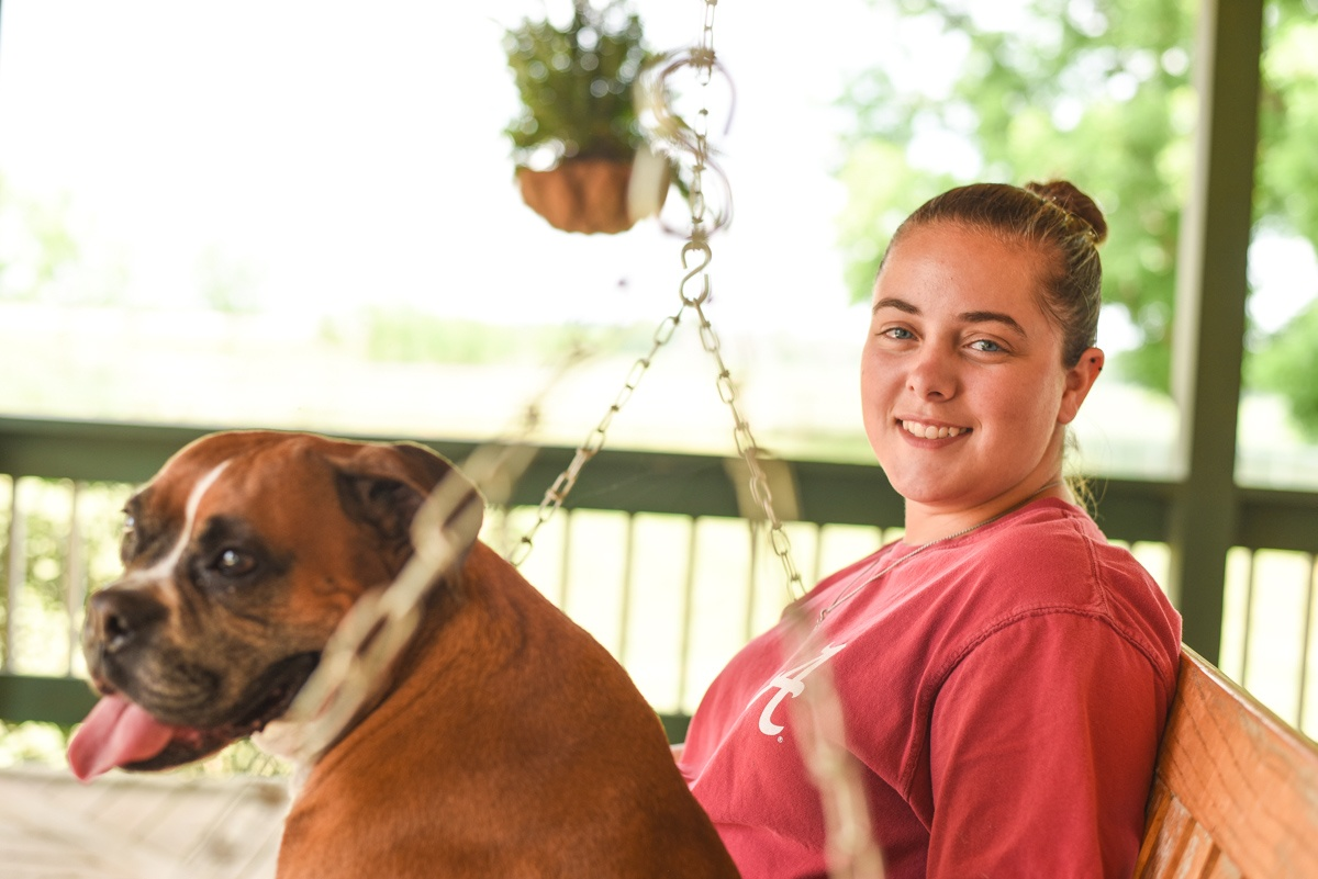 Kyndall and Regal on Jenni's porch