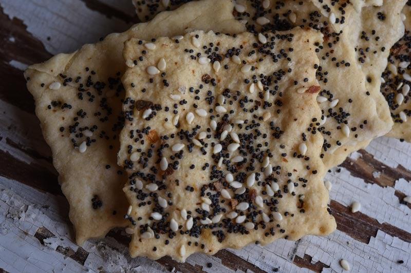 Georgia Sourdough Everything Crackers closeup