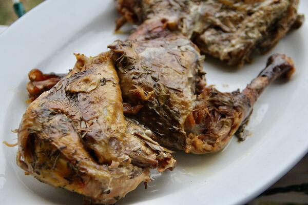 Guinea hen confit cooked in lard tender