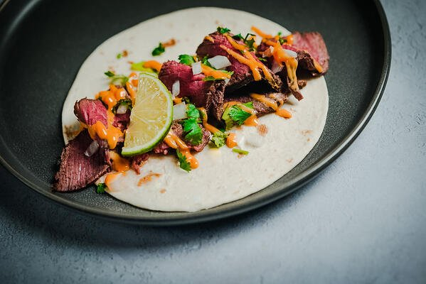 London Broil marinated grassfed beef taco