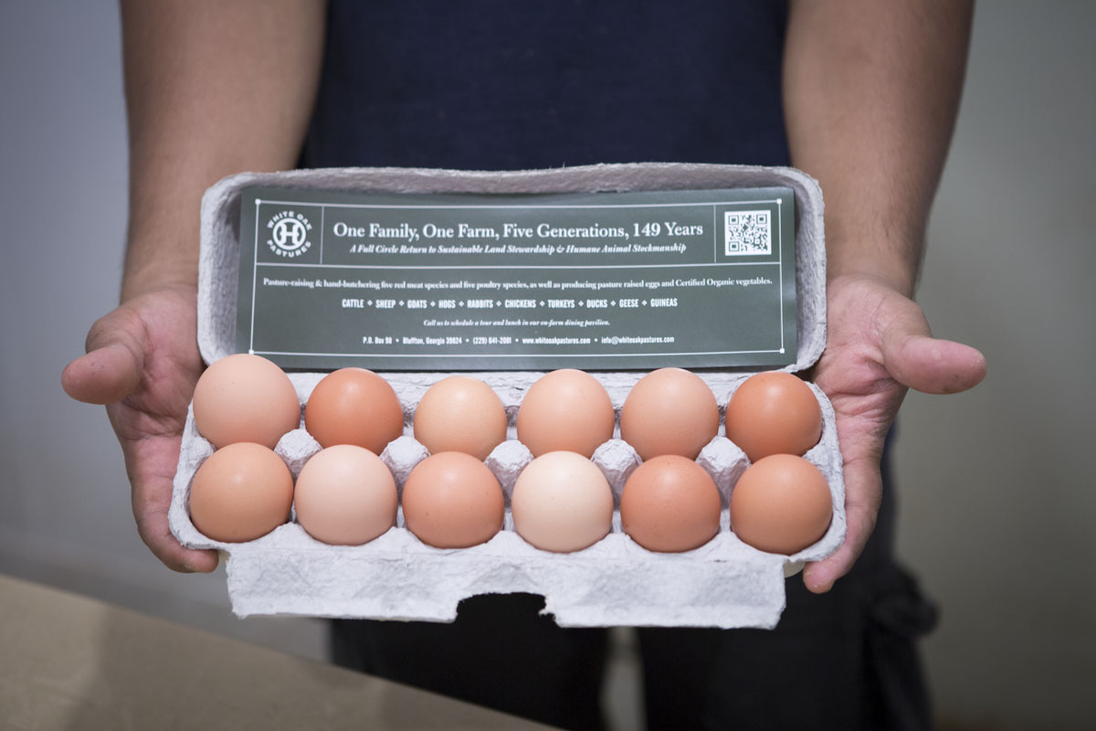 white oak pastures eggs at Whole Foods