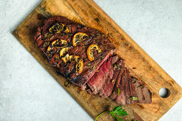 Sliced London Broil steak beef cut recipe