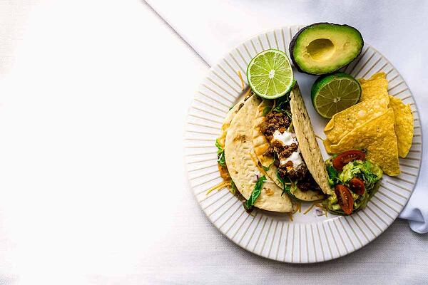 Tex Mex ground grassfed beef tacos on plate