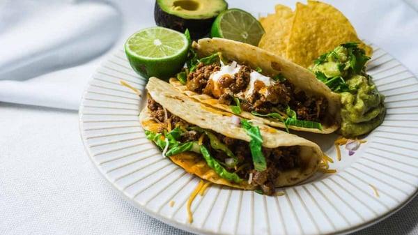 Tex Mex ground grassfed beef tacos