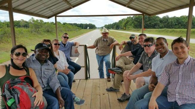 White Oak Pastures Farm Tour On Tour Wagon on Highway 27.