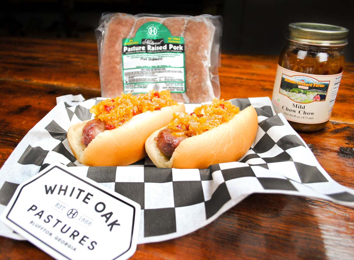Hillside Orchard Farms Mild Chow Chow is the perfect topping for White Oak Pastures Pork Bratwursts