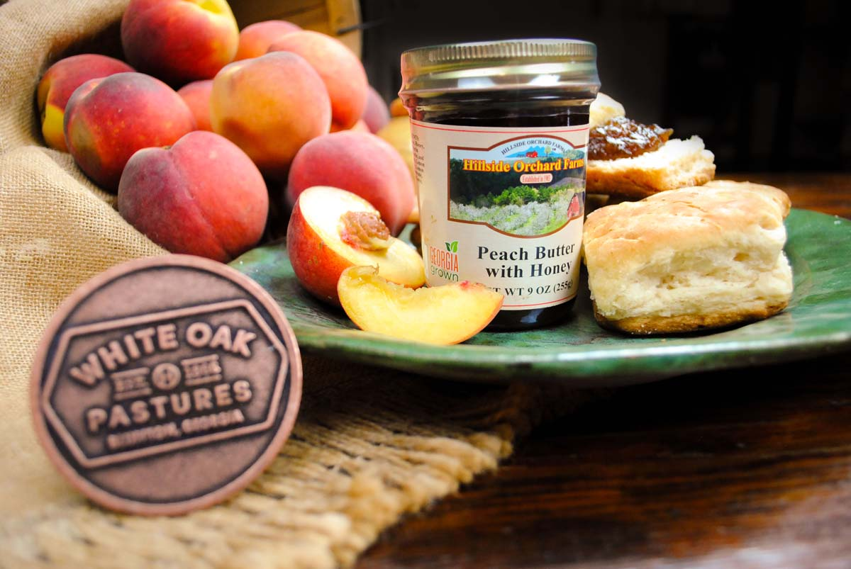 Hillside Orchard Farms Peach Butter With Honey and biscuits from White Oak Pastures Food Truck