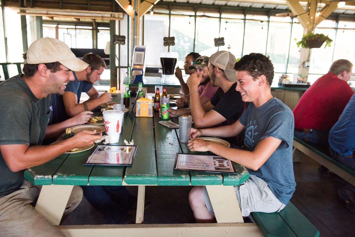Hard working interns break for lunch in the Dining Pavilion