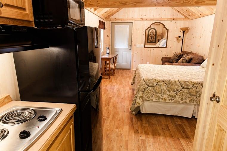 Photo inside Woodland Cabin at White Oak Pastures