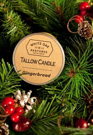 White Oak Pastures tallow candles come in Christmas, Warm Aplle pie, Pumpkin Pie and Gingerbread