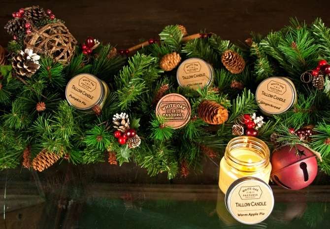 White Oak Pastures tallow candles make a fantastic stocking stuffer.
