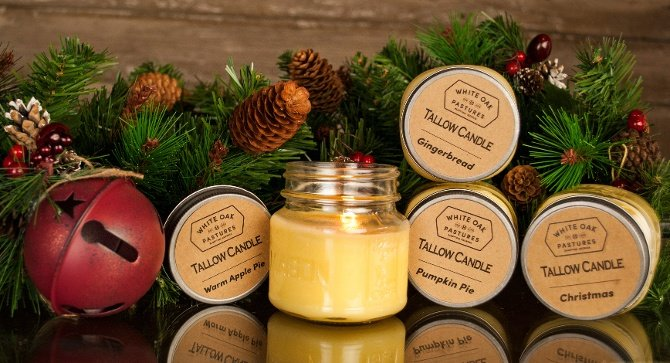 White Oak Pastures Holiday tallow candles are available in our General Store