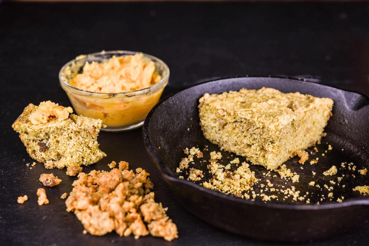iberico crackling cornbread recipe with honey hot sauce butter