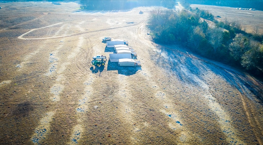 drone image of residual hay lines and poultry sets