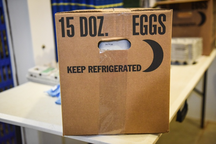this is a case of washed eggs ready to be shipped