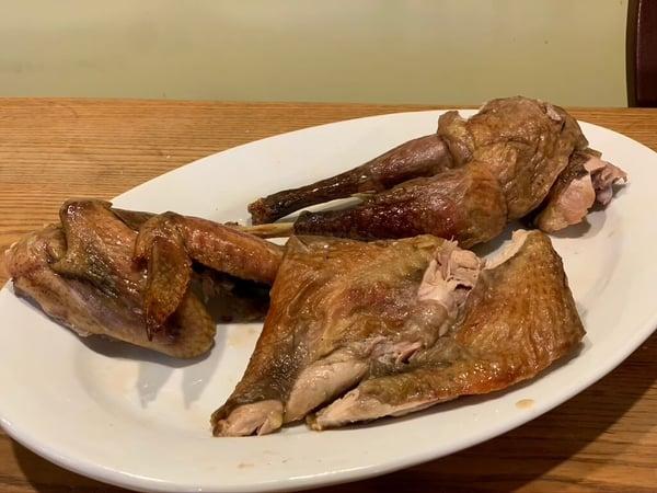 guinea hen brined recipe carved 6