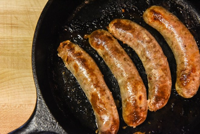 maple brown sugar pork sausage in cast iron pan