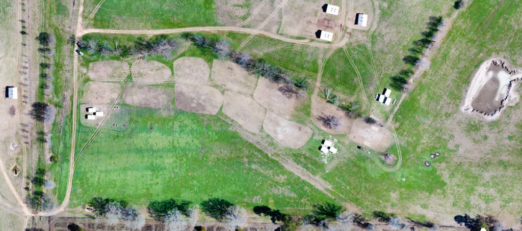 Drone image of pastured poultry at White Oak Pastures