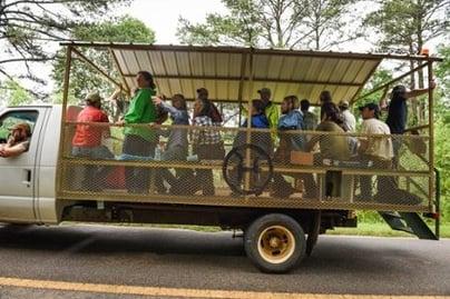 Farm tour wagon at White Oak Pastures