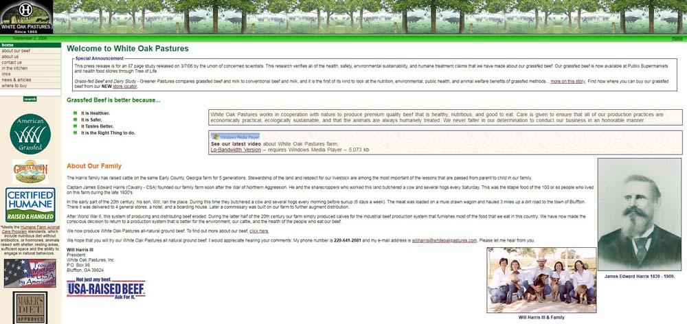White Oak Pastures website in 2006