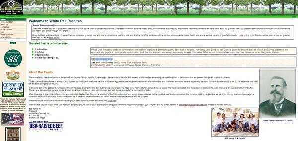 White Oak Pastures website in 2006