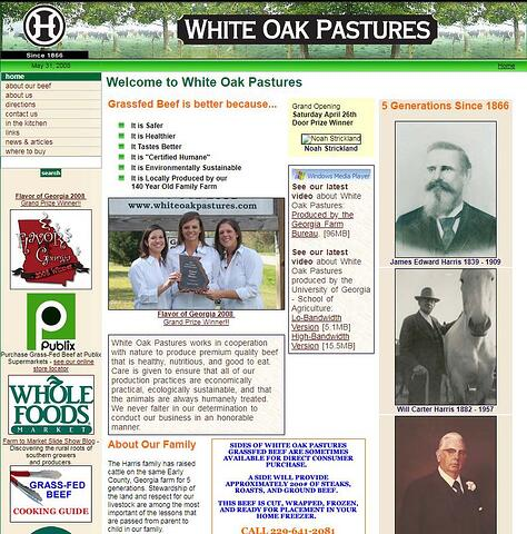 White Oak Pastures website in 2008