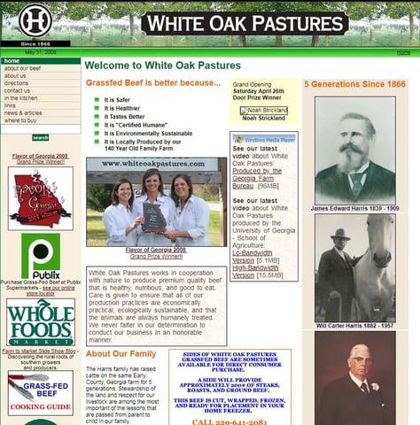 White Oak Pastures website in 2008