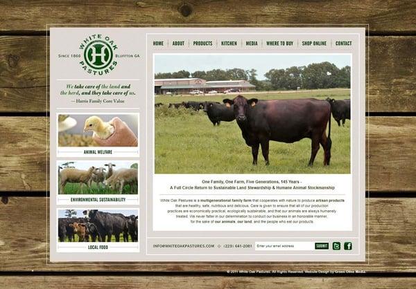 White Oak Pastures website in 2011
