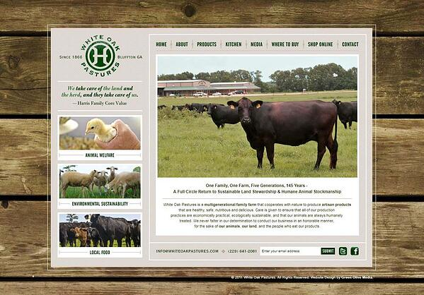 White Oak Pastures website in 2011