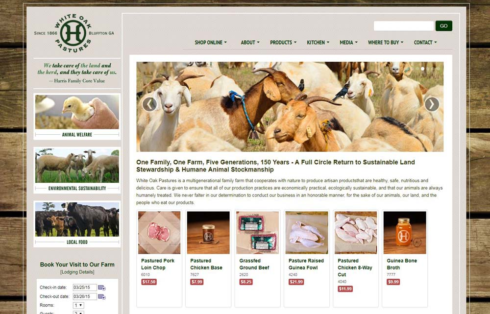 The White Oak Pastures website from 2015 until September 2018.