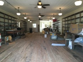 White Oak Pastures General Store floors during remodel