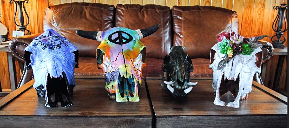 Denna-Peterson-Painted-Cow-Ram-Skulls