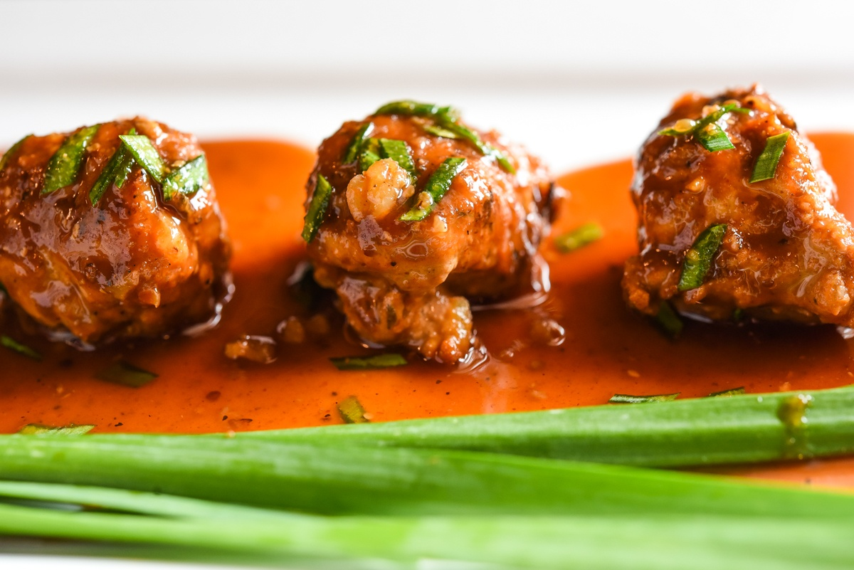 Ground Turkey Meatballs with organic chive garnish