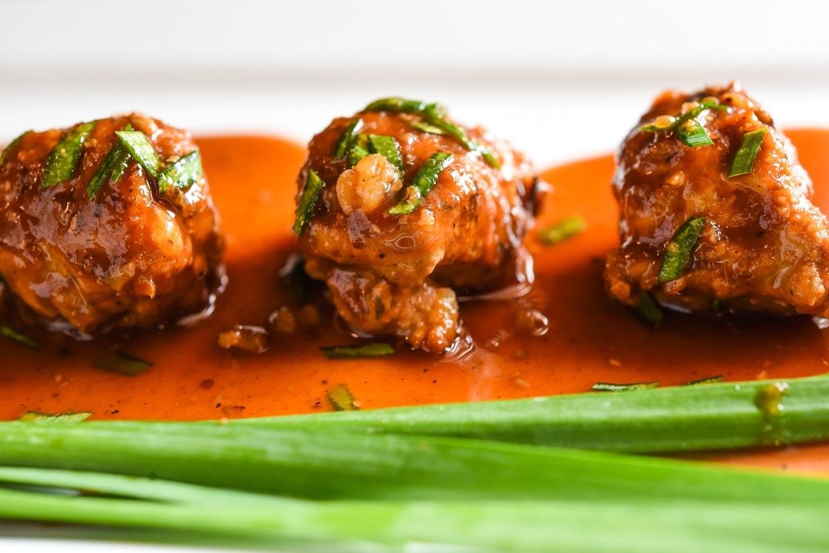 Ground Turkey Meatballs with organic chive garnish