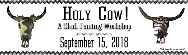 Denna Peterson Skull Painting Workshop at White Oak Pastures September 15 2018